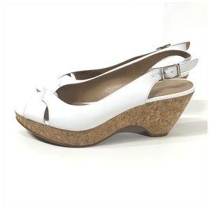Michelle D White Peep-toe Cork Wedge Sandals 8